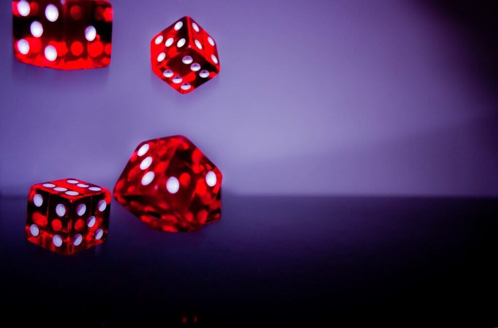 red dice falling