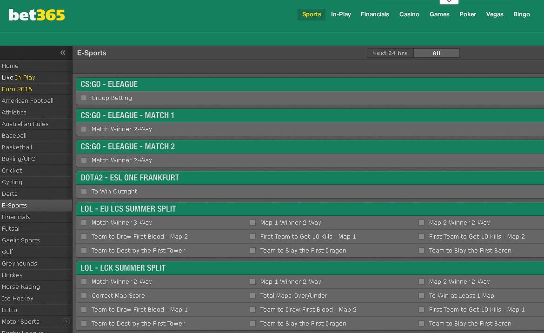 bet365 esports screenshot