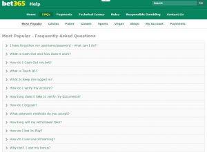 FAQ screenshot bet365